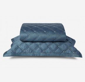 Colcha Queen 59 St 300 Fios Azul By The Bed 2,40X2,60