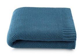 Manta Loom Tricô 100% Algodão By The Bed Azul 125 x 150 cm