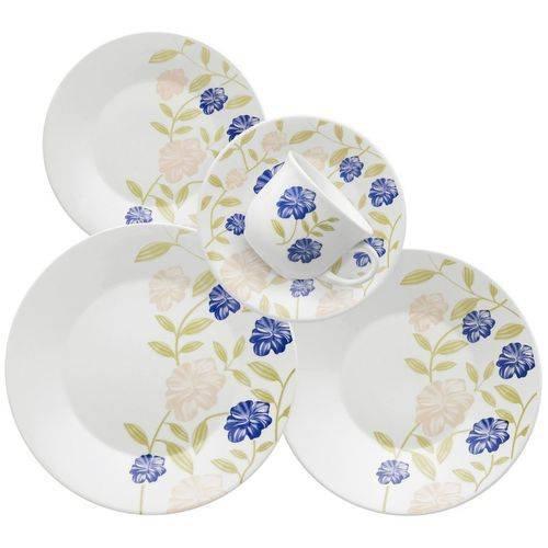 Aparelho De Jantar E Chá 30 Peças Azul Perfeito Oxford