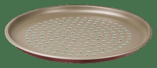 Assadeira para Pizza Furada Tramontina Bege e Vermelha 31 cm