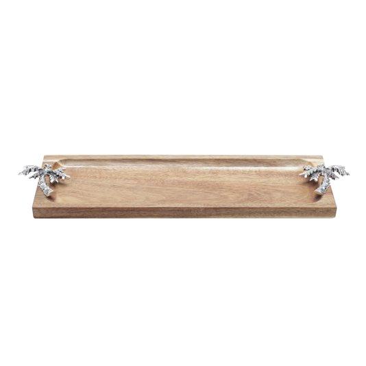 Bandeja e Petisqueira Retangular de Madeira Palmeira Rojemac 36 cm