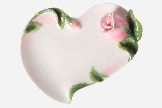 Bandeja Nice em Porcelana Manu Fisch Rosa 17 cm