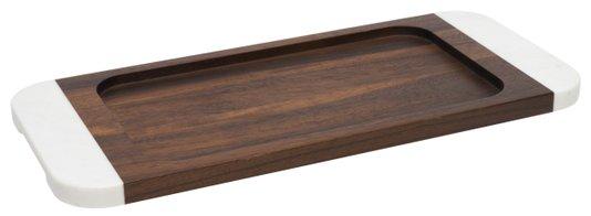 Bandeja Retangular Madeira e Marmore Oxford 45cm