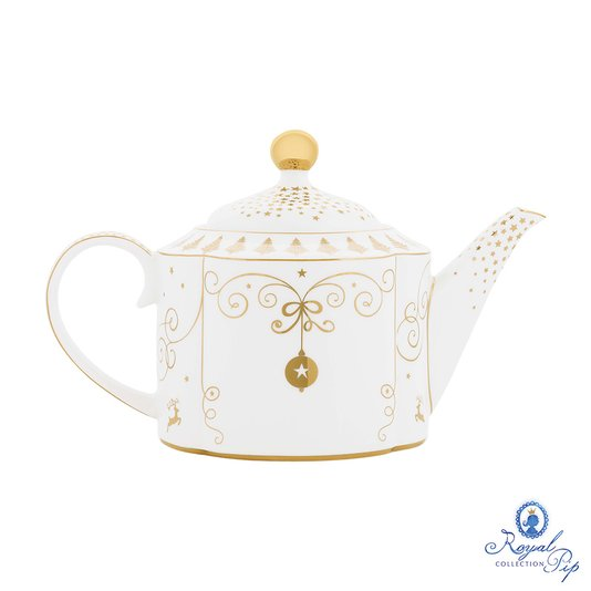 Bule Pendant Royal Christmas Natal Pip Studio Branco e Dourado 900 ml