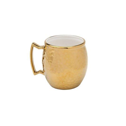Caneca para Moscow Mule de Porcelana Vera Gold Dourada 430 ml
