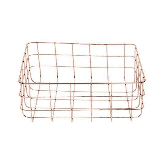 Cesta Retangular Cooper Wire Square Urban Cobre 24,5 cm