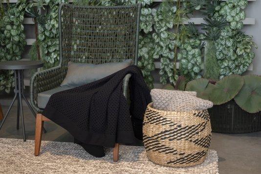 Cesto Grande em Seagrass Enjoy Natural com Preto 38 x 39 cm