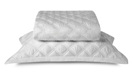 Colcha com Porta Travesseiro 59st By The Bed 300 Fios Casal Off White