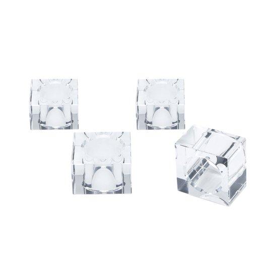 Conjunto 04 Argolas Para Guardanapo Quadrada em Cristal Royal Decor