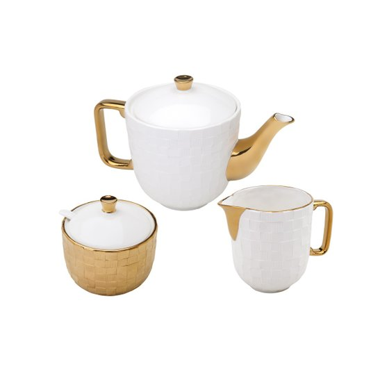Conjunto 3 Peças Para Chá (Açucareiro, Bule e Leiteira) Vera Gold Rojemac