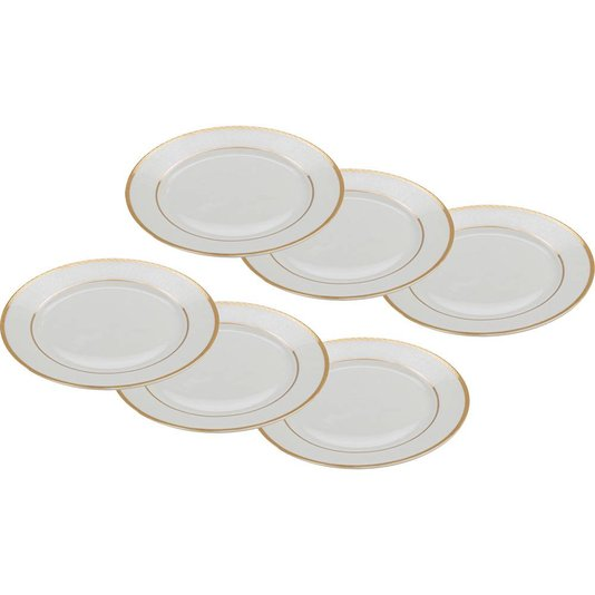 Conjunto com 6 Pratos de Porcelana Alto Relevo Gold Rojemac