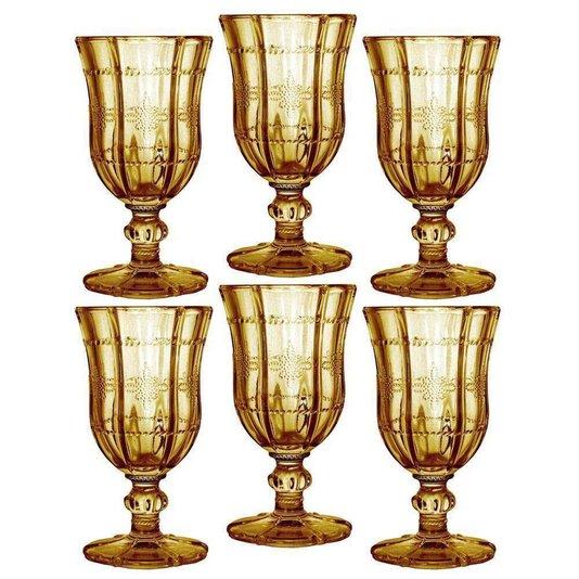 Conjunto de 6 Peças Taça de Vidro para Vinho Bon Gourmet Knot Âmbar Rojemac 195ml
