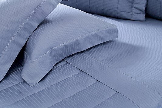 Fronha Azul Damask Stripes 3 Abas Com Ajour
