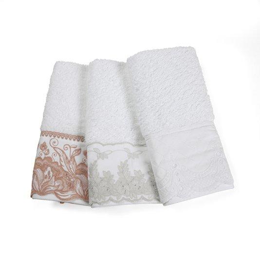 Jogo 02 Peças Toalha de Lavabo e Rosto Imperiale Bordado Trussardi Branco