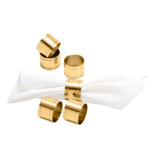 Jogo 06 Anéis Para Guardanapo Elegance Aço Inox Wolff Dourado