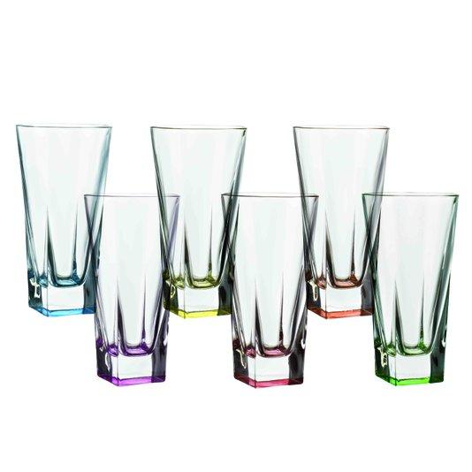 Jogo 06 Copos Para Suco de Cristal Colour Ally Oxford 380 Ml