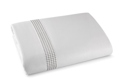 Jogo 3 Peças Capa de Edredom Duvet Brick By The Bed 300 Fios Queen Branco e Prata