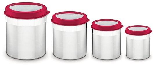 Jogo 4 Potes Cucina Inox Vermelho com Visor Tramontina