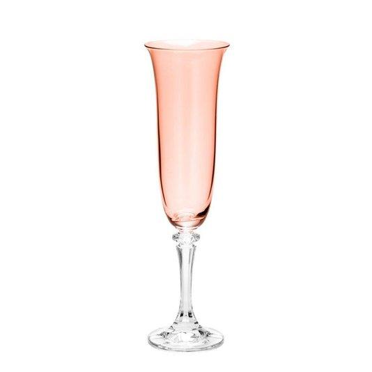 Jogo 6 Taças de Espumante Cristal Kleopatra Bohemia Rose Quartz 172 ml