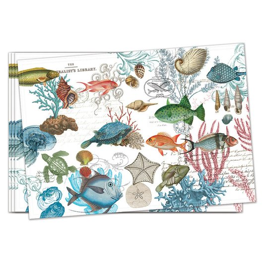 Jogo com 4 Americanos de Tecido Sea Life Michel Design Works