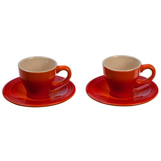 Jogo de 2 Xícaras com Pires para Espresso Le Creuset Laranja