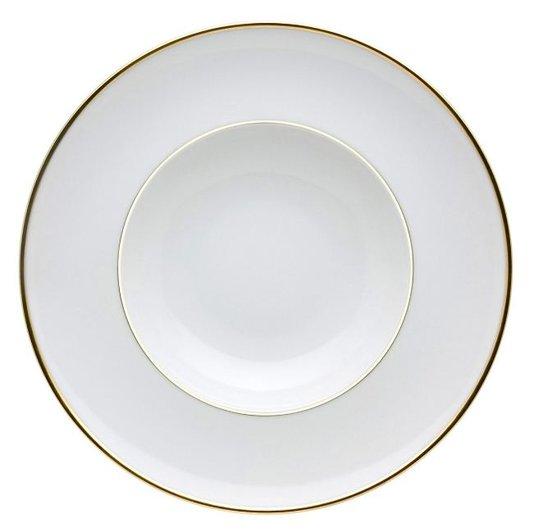 Jogo de 4 Pratos Fundos Rocco Vista Alegre Branco e Ouro 25,2 cm