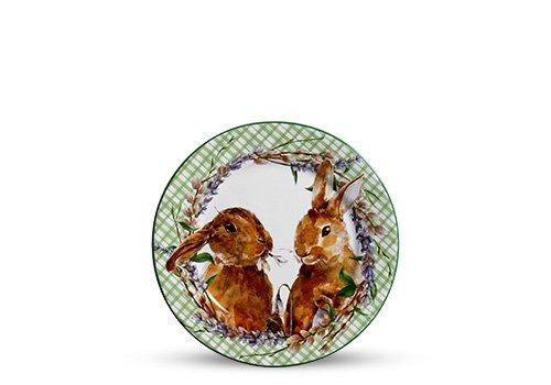 Jogo de 6 Pratos de Sobremesa Páscoa Bunny Scalla Cerâmica Verde