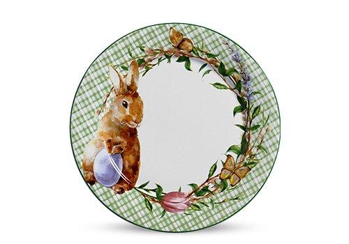 Jogo de 6 Pratos Rasos Páscoa Bunny Scalla Cerâmica Verde