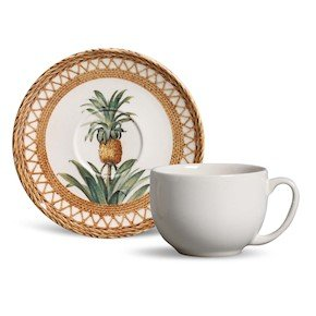 Jogo de 6 Xícaras de Chá Coup Pineapple Natural Porto Brasil