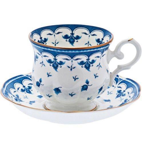 Jogo de 6 Xícaras para Chá em Porcelana Blue Leaf MCD Branco e Azul