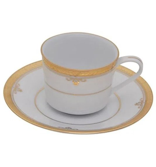 Jogo de Café 12 Peças Buckinghan Gold Noritake Branco e Ouro