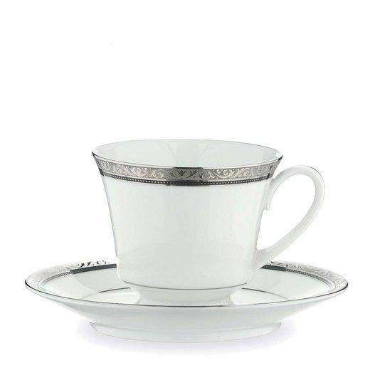 Jogo de Chá 12 Peças Regent Platinum Noritake Branco e Prata