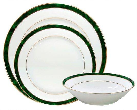 Jogo de Jantar 18 Peças Marble Green Noritake Verde e Ouro