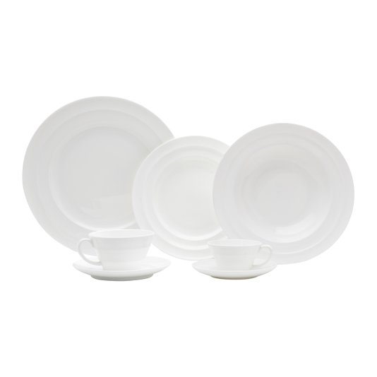 Jogo de Jantar Chá e Café 42 Peças de Porcelana Woff Bone China Bambu