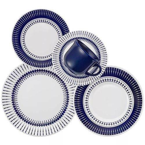 Jogo de Jantar e Chá 30 Peças Colb Oxford Branco e Azul