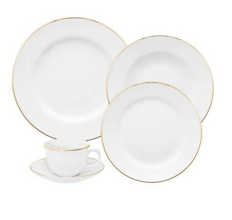 Jogo de Jantar e Chá 30 Peças Flamingo Sofia Ouro Oxford