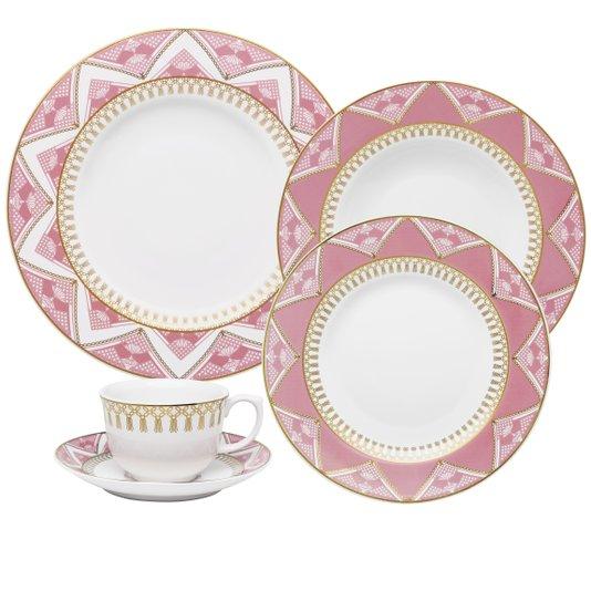 Jogo de Jantar e Chá 30 peças Flamingo Macrame Oxford
