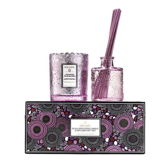 Kit com Vela e Difusor de Ambiente Japanese Plum Bloom Voluspa