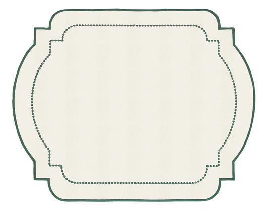 Lugar Americano Bordado Decortextil Off White e Verde