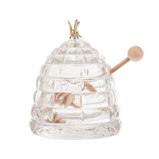 Meleira de Cristal com Pegador de Madeira Abelha Bohemia 11,5 cm