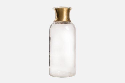 Mini Vaso de Mesa em Vidro Manu Fisch Incolor e Dourado 14 cm