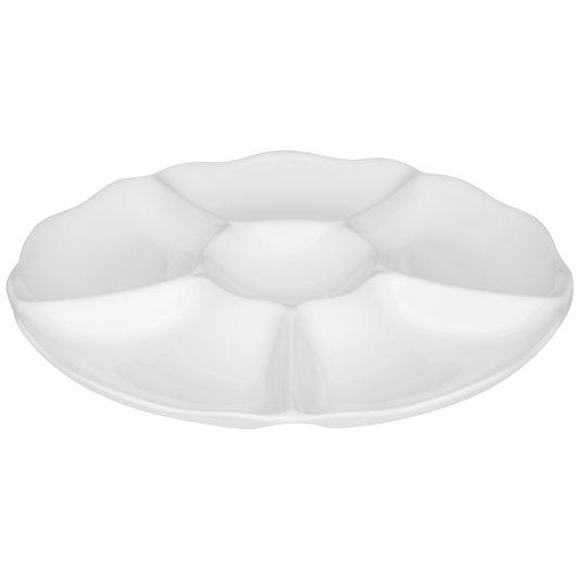 Petisqueira Redonda de Porcelana Oxford Branca 30 cm