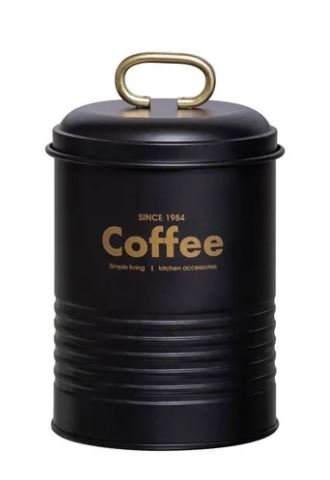 Porta Condimentos Industrial Coffee Martiplast Preto e Dourado 15 cm