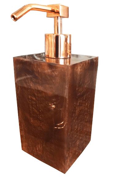 Porta Sabonete Líquido Square em Resina Ambar Perolado Alúmen Design