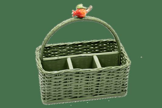 Porta Talheres Retangular Vime Romã Sweet Home Verde Musgo