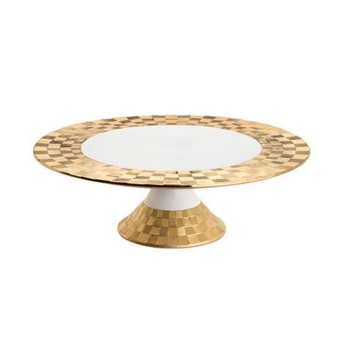 Prato de Porcelana para Bolo Vera Wolff Gold 30x10
