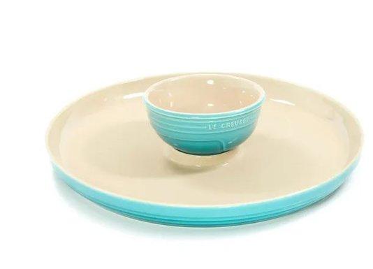 Prato para Aperitivo de Cerâmica Le Creuset Azul Caribe 36 cm
