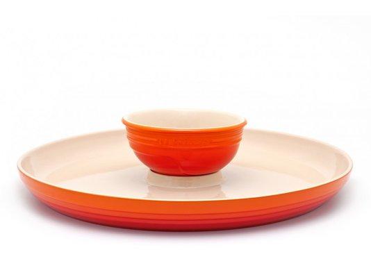 Prato para Aperitivo de Cerâmica Le Creuset Laranja 36 cm