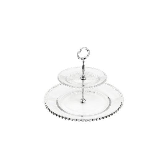 Prato Para Doces Duplo Cristal Pearl Wolff Transparente 32 cm