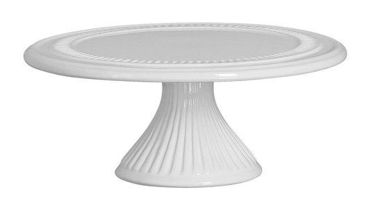Prato para Bolo Redondo com Pé Silveira Cerâmica Branco 23 cm